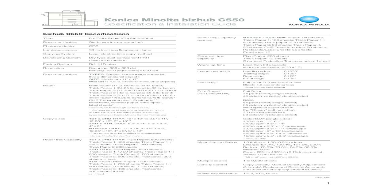 Bizhub500 Driver : Konica Minolta Bizhub 500 User Manual